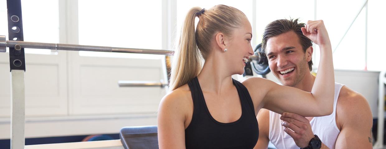 woman flexing muscle